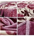 Light Purple Small Flowers Printing Raschel Blanket