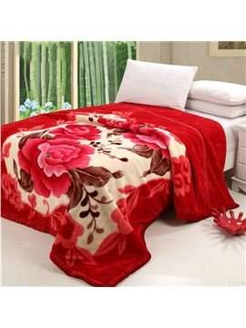 Beautiful Red Flowers Top Class Raschel Blanket
