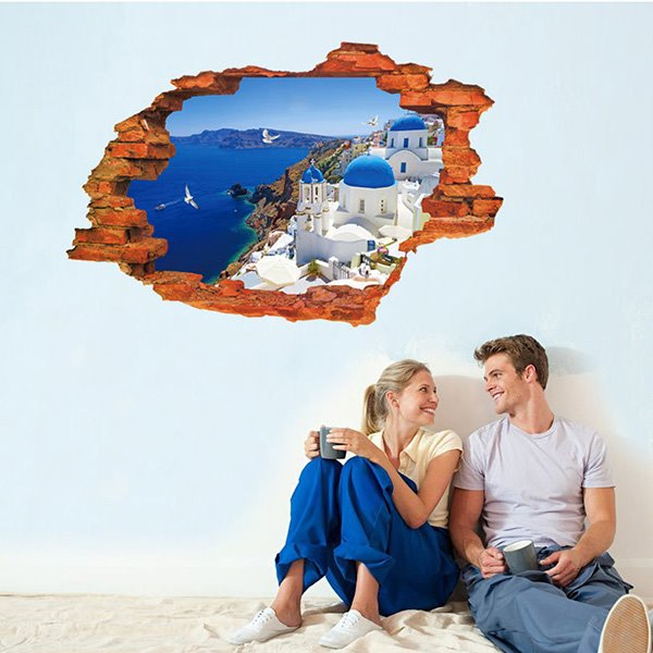 Wonderful Aegean Sea Wall Hole View Removable 3D Wall Sticker