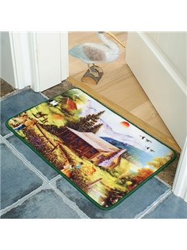 Wonderful Pastoral Countryside in Sunrise Anti-Slipping Doormat