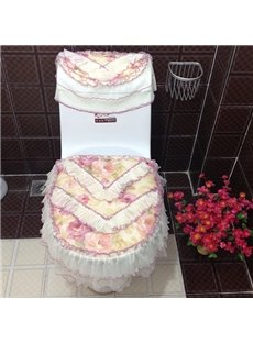 Pastoral Style Little Flower Print Cloth and Lace 3 Pieces Toilet Seat Cover Set