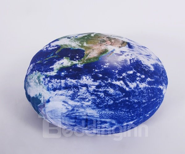Vivid Blue Earth Printing Round Plush Throw Pillow