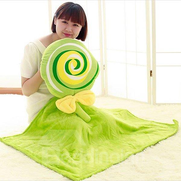 Sweet Lollipop Shaped Green Plush Throw Pillow