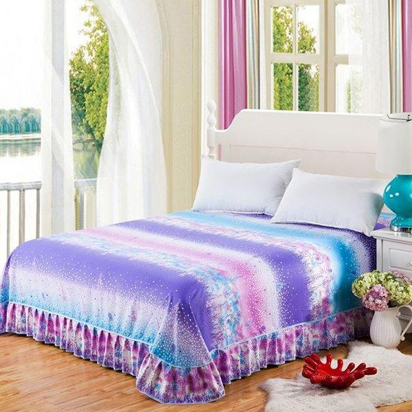 Lovely Polka Dots Romantic Lavender Printing Skin-care Cotton Bed Skirt