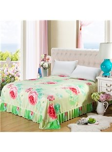 Bright Red Peonies Print Cotton Green Bed Skirt