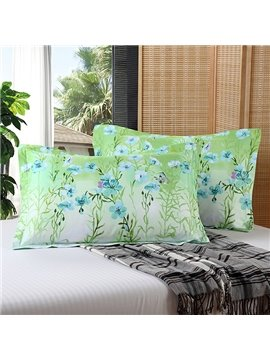 Fresh Butterflies Blue Flowers and Green Leaves Print 2-Piece Cotton Pillow Cases
