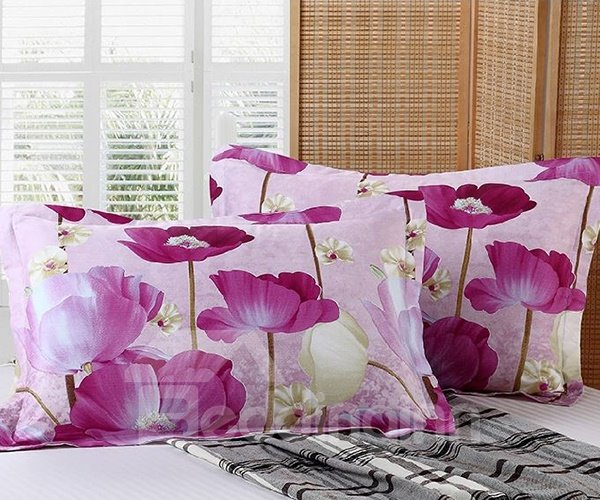 Romantic Bright Purple Flowers Print Cotton 2-Piece Pillow Cases