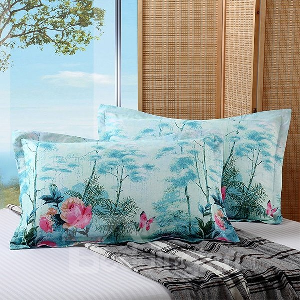 Graceful Flowers and Butterflies Print Cotton 2-Piece Blue Pillow Cases