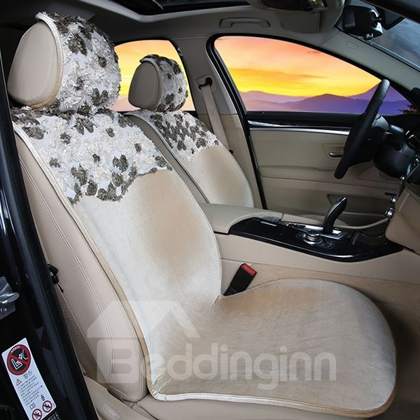 Elegant and Concise Short Plush Floral Designed Universal Fit Car Seat Cover