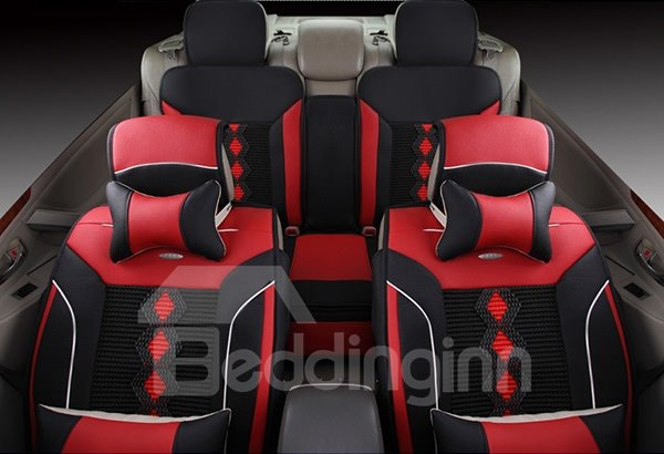 Comfortable and Durable Leather Material Color Blocked Universal Fit Car Seat Cover