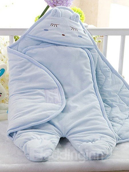 Fresh Pure Color Little Animal Hood Cotton Baby Sleeping Bag