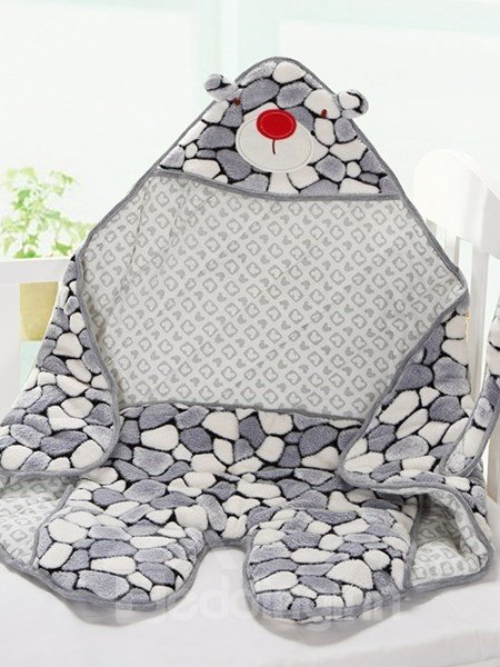 Lovely Little Gray Bear Warm&Soft Coral Fleece Baby Sleeping Bag