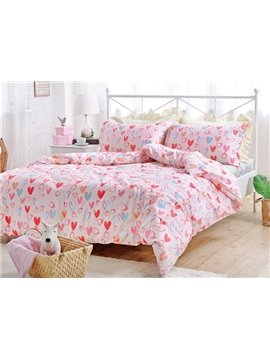 Lovely Pink Heart Shape Pattern Cotton Kids 4-Piece Duvet Cover Sets