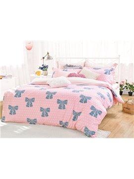 Lovely Blue Bowknot Pattern Cotton Kids 4-Piece Duvet Cover Sets