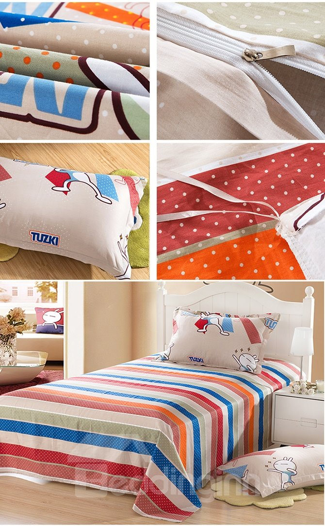 Lovely Rabbit Pattern Purified Cotton Kids 3-Piece Duvet Cover Sets