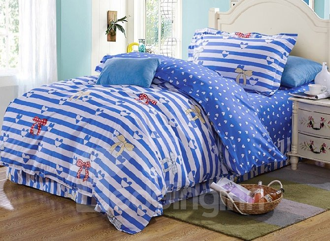 Stripes and Bowknot Pattern Kids 100% Cotton 3-Piece Duvet Cover Sets