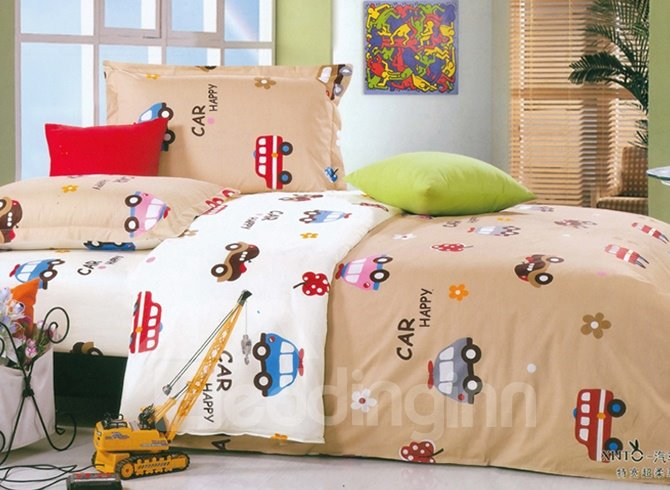 Bouncy Cars and Letters Pattern 100% Cotton Kids 3-Piece Duvet Cover Sets