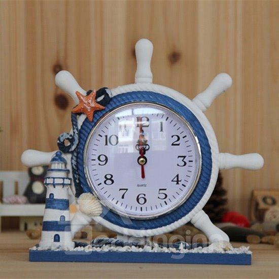 Creative Wooden Rudder Design Desktop Clock