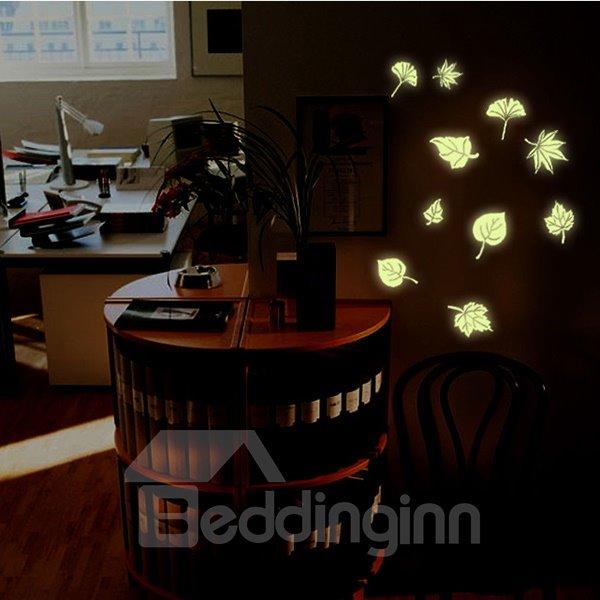 Stunning Luminous Leaf Design Wall Sticker 2-Piece