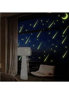 Amazing Meteor Shower Design Luminous Wall Sticker 3-Piece