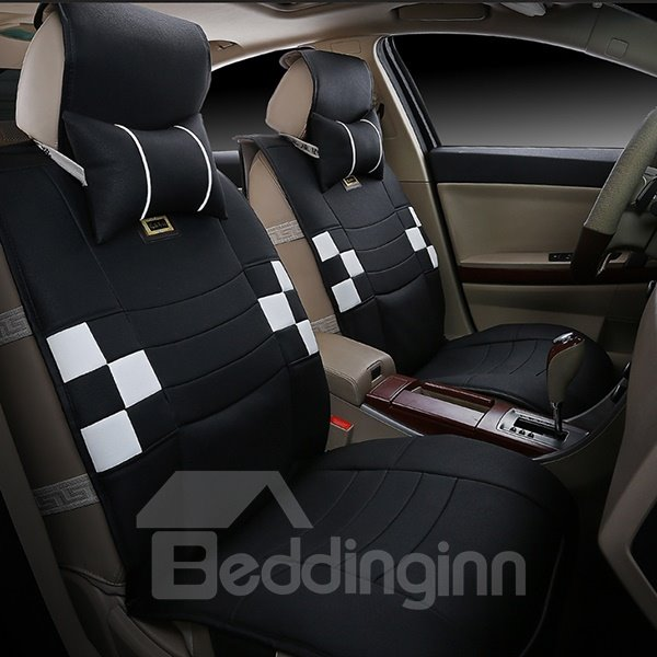 Popular Designed Sporty Plaid Patterned PU Leather Universal Fit Car Seat Cover
