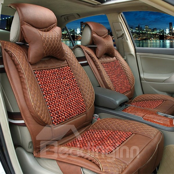 Premium Quality Exquisite PU Leather Wooden Beads Universal Fit Car Seat Cover