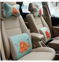 Concise And Funny Linen Material Smiling Elephant Lumbar Support Car Pillow