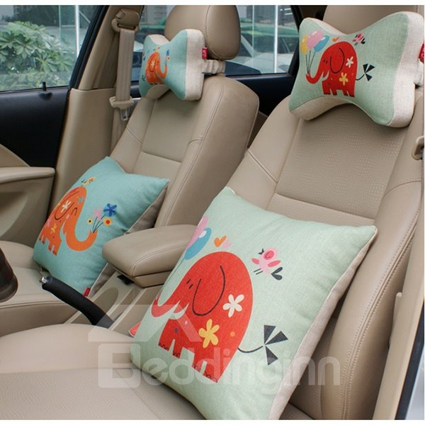 Concise And Funny Linen Material Cheerful Elephant Car Neckrest Pillow