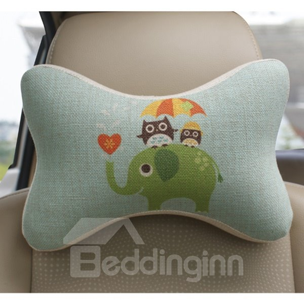 Concise And Funny Linen Material Owl Elephant Car Neckrest Pillow