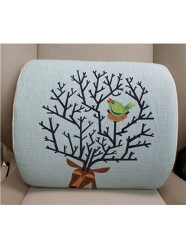 Concise And Styling Linen Material Bird Buckhorn Lumbar Support Car Pillow