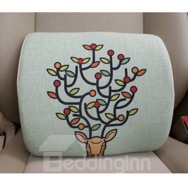 Concise and Styling Linen Material Branch Buckhorn Lumbar Support Car Pillow