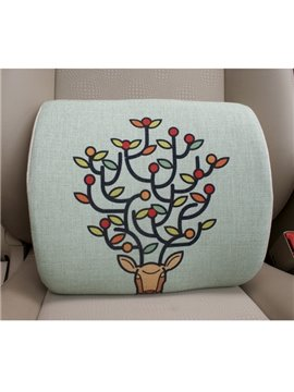 Concise and Styling Linen Material Branch Buckhorn Lumbar Support Car Pillow