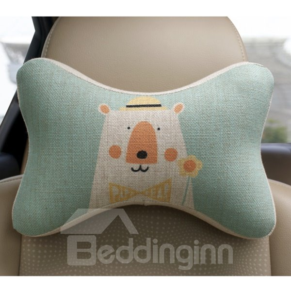 Concise And Creative Linen Material Floral Bear Car Neckrest Pillow