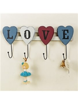 Romantic Love in Capital Wooden 4-Hook Wall Hook