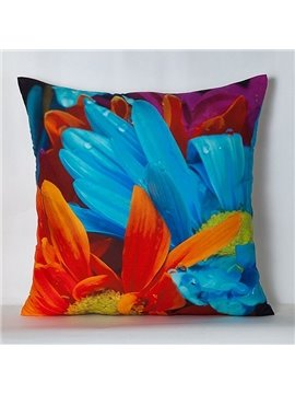 Bright Pastoral Petals Print Polyester Throw Pillow