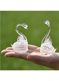 Romantic Glass Graceful Swans Desktop Decoration 1-Pair