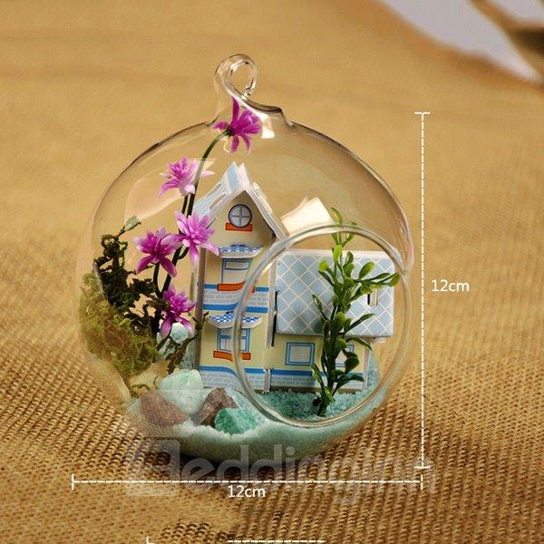 Wonderful DIY Glass Ball Miniature Dollhouse Coastal Villa Desktop Decoration