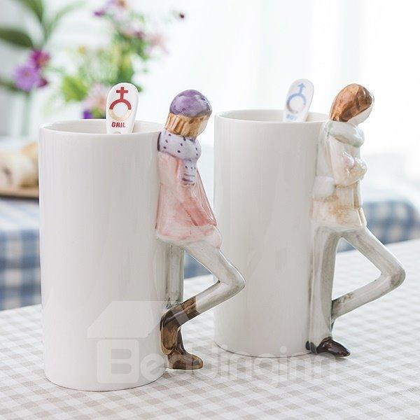 Romantic Boy and Girl 3D Ceramic Coffee Mug Sets 1-Pair