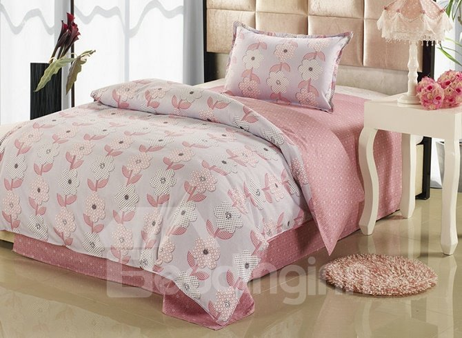 Light Pink Floral Pattern Kids Cotton 3-Piece Duvet Cover Sets