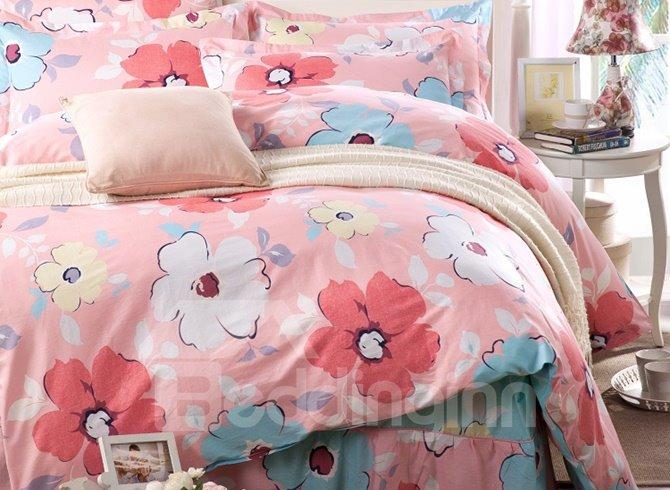 Vivid Flowers Pattern Cotton Kids 3-Piece Duvet Cover Sets