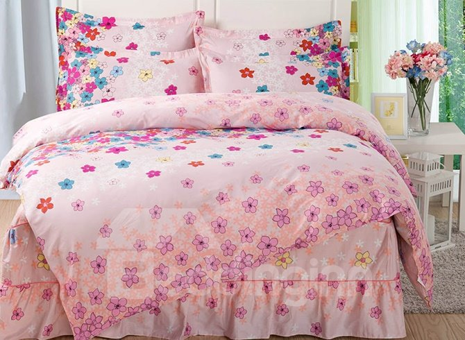 Cute Little Flowers Pattern Cotton Kids 3-Piece Duvet Cover Sets