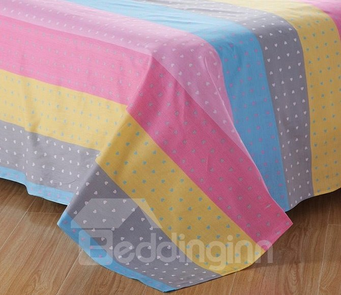Lovely Stripes and Polka Dots Pattern Cotton Kids 3-Piece Duvet Cover Sets