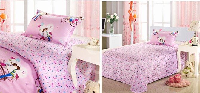 Sweet Couples Print Kids Cotton 3-Piece Duvet Cover Sets