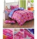 Lively Pink Stars Pattern Cotton Kids 3-Piece Duvet Cover Sets