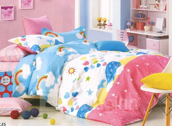 Lovely Whale in Pink Ocean Print Kids Cotton 3-Piece Duvet Cover Sets