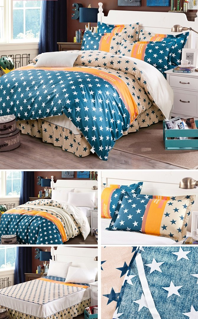 High Quality Bright Stars Pattern Cotton Kids 3-Piece Duvet Cover Sets