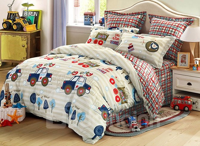 High Quality Adorable Police Cars Pattern Cotton Kids 3-Piece Duvet Cover Sets