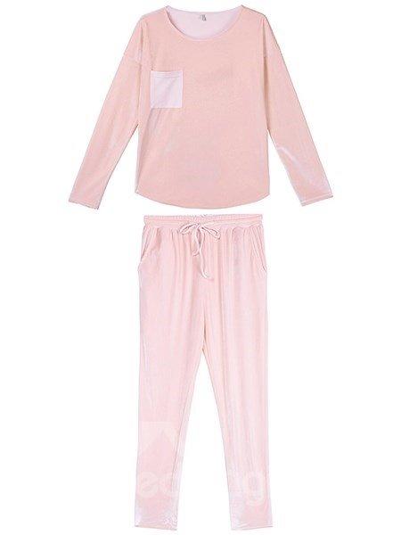 Classical Concise Design Pink Pleuche Pajamas Set