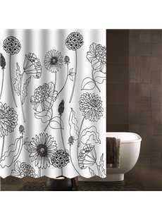 Modern Concise Desgin Dandelion Print Shower Curtain