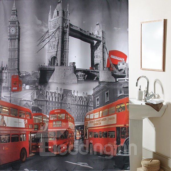 Classical London Tower and Big Ben Shower Curtain